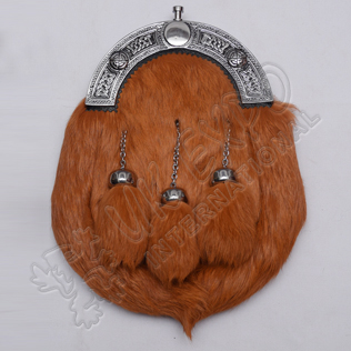 Scottish Brown Rabbit Furr Sporran With Celtic Design Cantle Black Color Filling