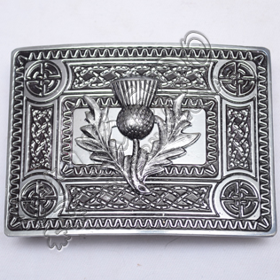 Scottish Celtic Design Buckle Black Color Filing With Thistle Badge