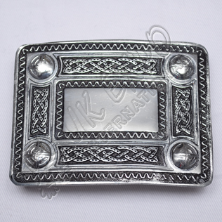 Scottish Celtic Design Chrome Buckle With Black Color Filing