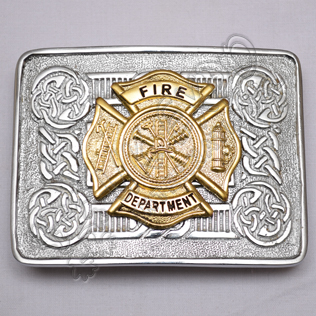 Scottish Celtic Design Chrome Buckle With Brass Fire Department Badge