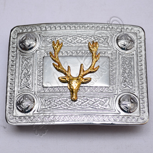 Scottish Celtic Design Chrome Buckle With Brass Stag Badge