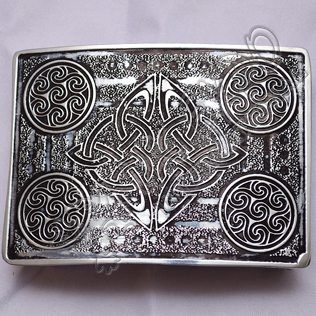 Scottish Celtic Design Chrome Kilt Buckle With Black Color Filing