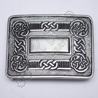 Scottish Celtic Design Kilt Buckle With Black Color Filing