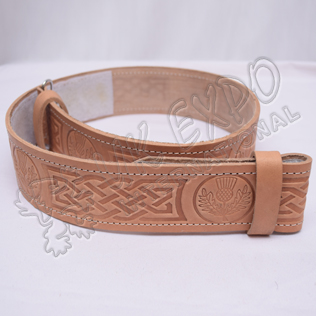 Scottish Flower and Celtic knot work Embossed on Skin Color orignal Leather Kilt Belt