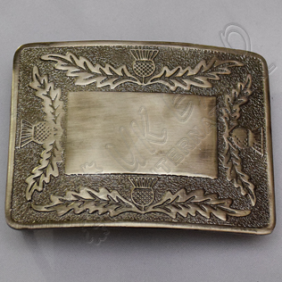 Scottish Flower Bronze Thistle Kilt Buckle