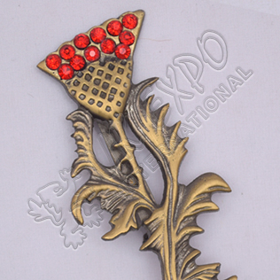 Scottish Flower With Leaf And Red Stone Brass Antique Kilt Pins