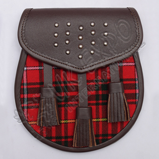 Gladiator Semi Dress Sporran Brass Studs on Flap Brown leather with Clan Tartan