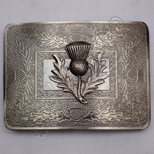 Scottish Thistle Badge Shiny Antique Celtic Design Kilt Buckle