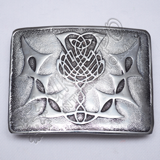 Scottish Thistle Flower Black Color Filing Kilt Buckle