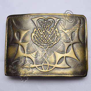 Scottish Thistle Flower Bronze Kilt Buckle
