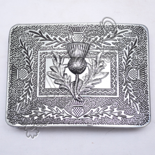 Scottish Thistle Kilt Buckle Black Color Filing With Thistle Badge