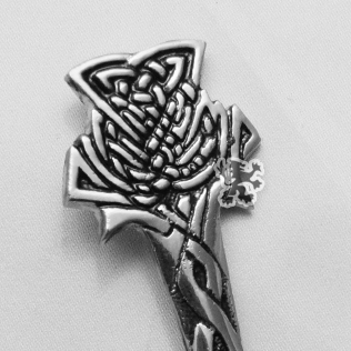 Scottish thistle Kilt Pin with Black Color Filling