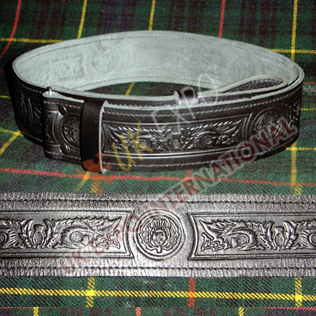 Scottish thistle knot work on all Belt Embossed