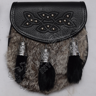 Semi Dress Real Leather with Chrome Rampart lion Cups Gray Multi Furr Sporran