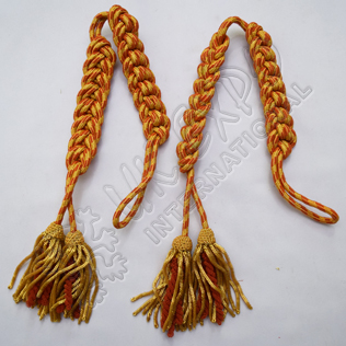 Shako Cord Orange and Gold Color Silk and Gold Bullion Tessel
