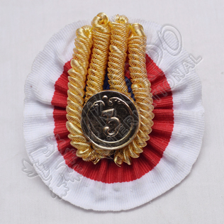 Shako hat cocade Blue , Red and White with 3rd Button and Gold Bullion Frings