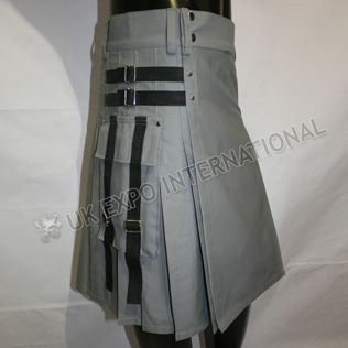Simple Men Gray PC Utility Sports Casual Pocket Kilt