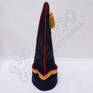 Spanish Sleeve Gold Bullion Braid Cap Dark Blue Blazer with Red Wool Piping