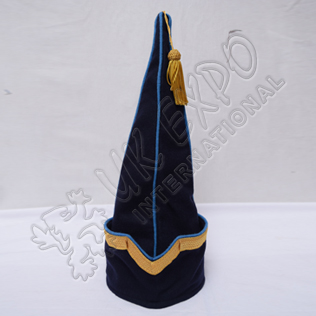 Spanish Sleeve Gold Bullion Braid Cap Dark Blue Blazer with Sky Blue Wool Piping