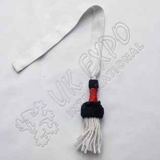 Sword Knot Silver Braid and Silver fringes, Black and Red Wool Cuff