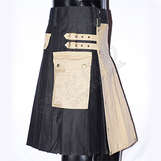 Two ton Black and khaki Hybrid Kilt