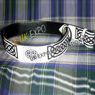 White Color Belt with Black Hand Embroidery and Black Backing