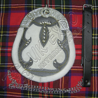 White Goat Sking With leather , Studs with celtic cantle