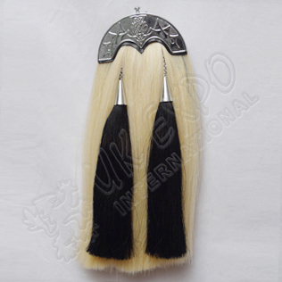 White Horse Hairs Sporran with Scottish Flower Cantle Black Horse hair Tassels
