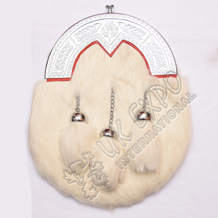 White rabbit fur with three tassels thistle knot work cantle red lining