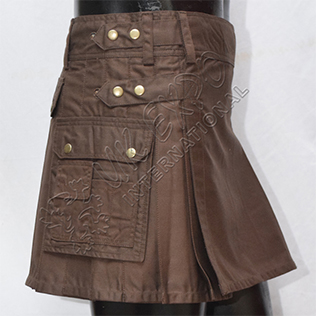 Womens Utility Kilt chocolate brown color extra small back pocket