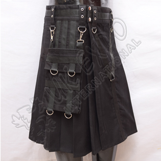 Y Style Black Utility Kilts With Heavy Canvas and Sports Casual Pocket
