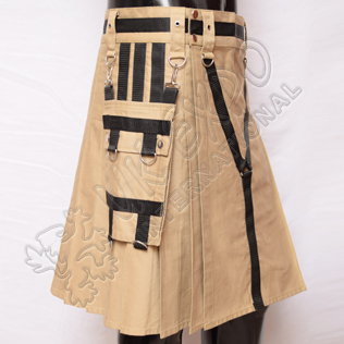 Y Style Khaki Utility Kilt With Heavy Canvas and Sports Casual Pocket