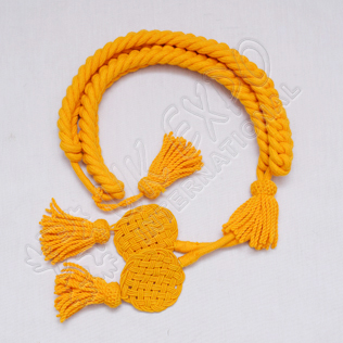 Yellow color Grenadier Cord in Available in Wool Cotton and Silk