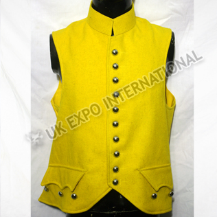 Yellow color wool Vest with doom Button